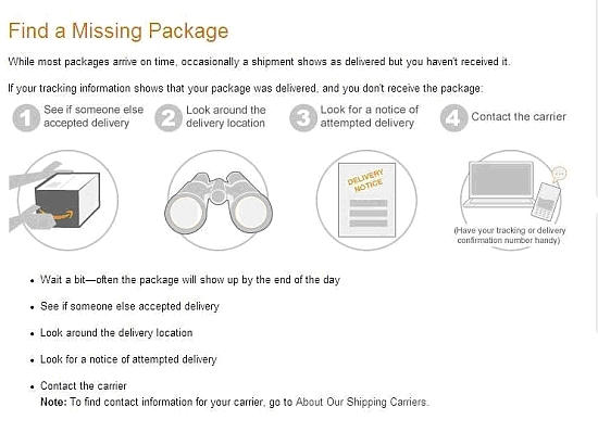 "The page ""How to find a missing package"" screenshot"