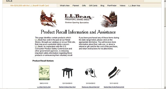 Page Recall Information of the site llbean.com