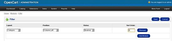 Category small - OpenCart program screenshot