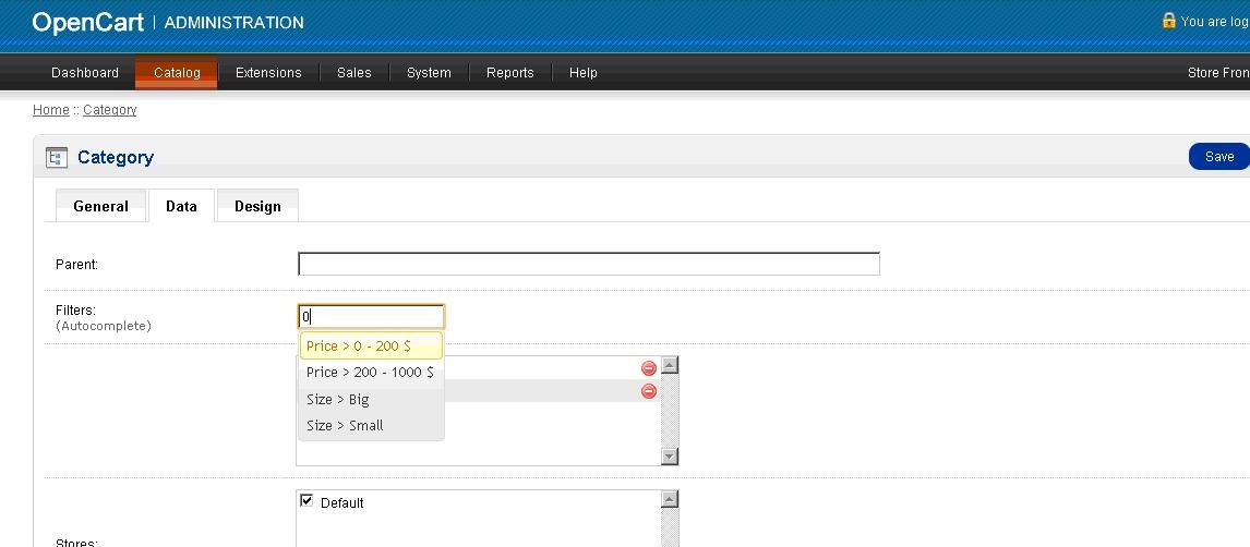 Data big image - OpenCart interface