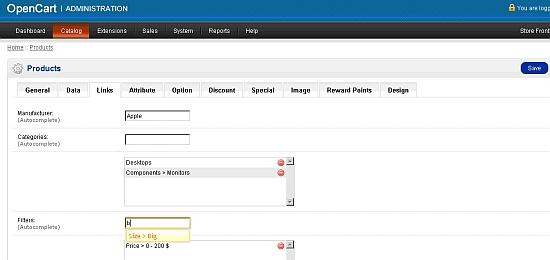 Links small - OpenCart screenshot