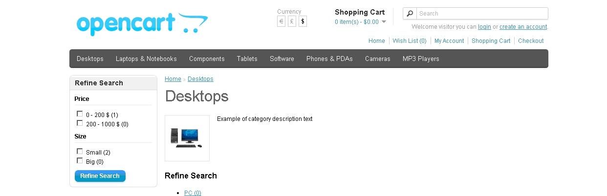 OpenCart big - program interface screenshot