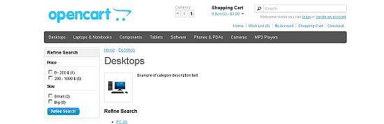 OpenCart small image - screenshot