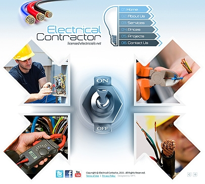The picture of the main page of Electrical Contractor theme