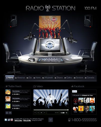 The screenshot of the Radio Station web template