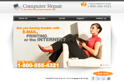 Picture of the Computer Repair template's main page