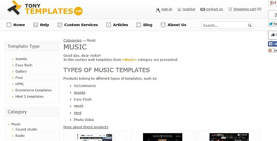 Music templates page of the Tonytemplates