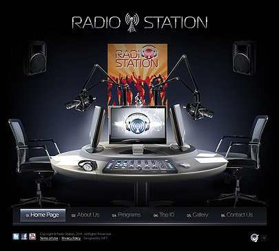 The screenshot of Radio Station web template's main page