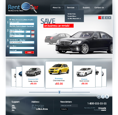 Rent Car Joomla web theme main page's screenshot