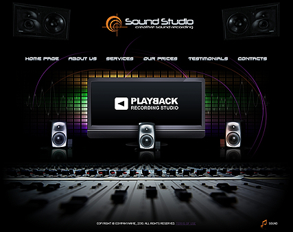 The image of Sound Studio website template's main page