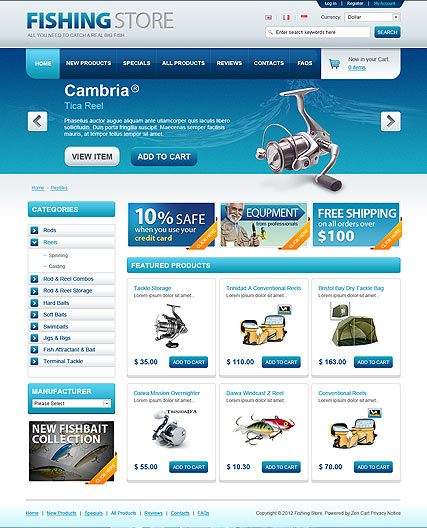 10 best opencart website templates for ecommerce for Online fishing store