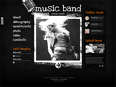 The image of Music Band Joomla web template's main page