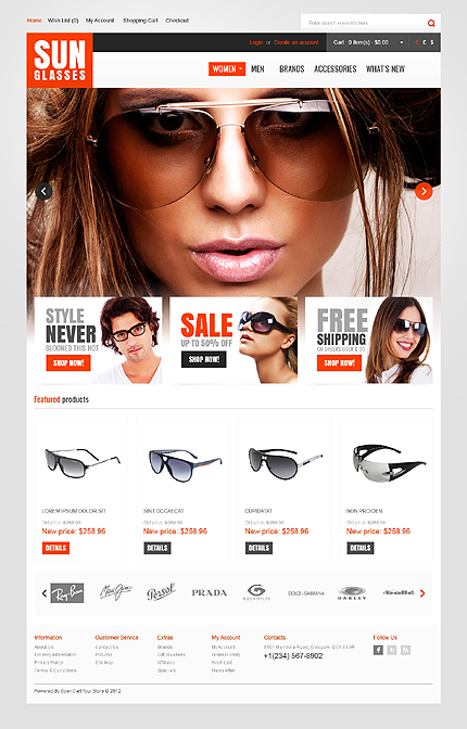 Sunglasses Accessories Opencart template's screenshot
