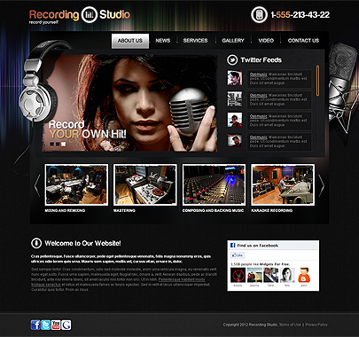 Recording Studio website template's image