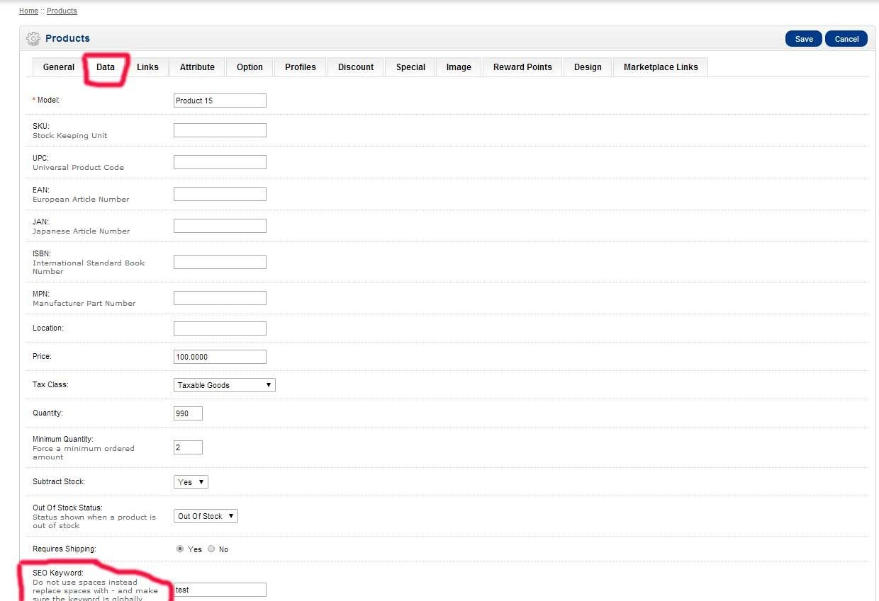 Turn on SEO urls for products in Opencart big