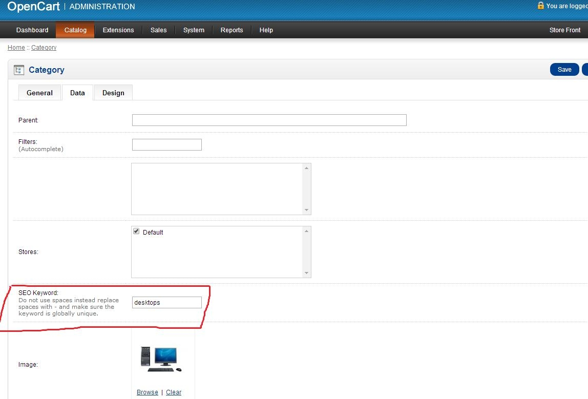 Turn on of SEO urls for categories in Opencart big