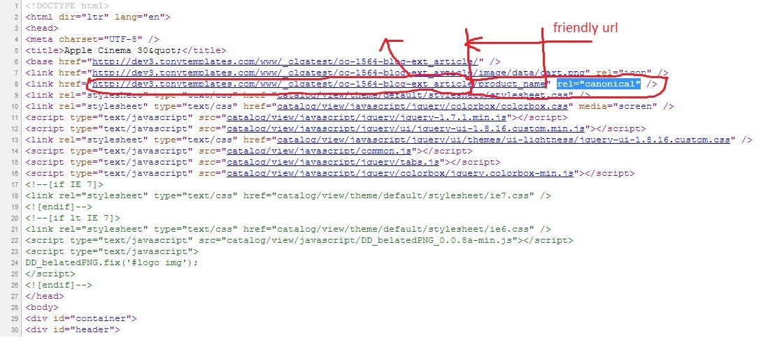 The screenshot of the page source that shows canonical url in Opencart - big picture