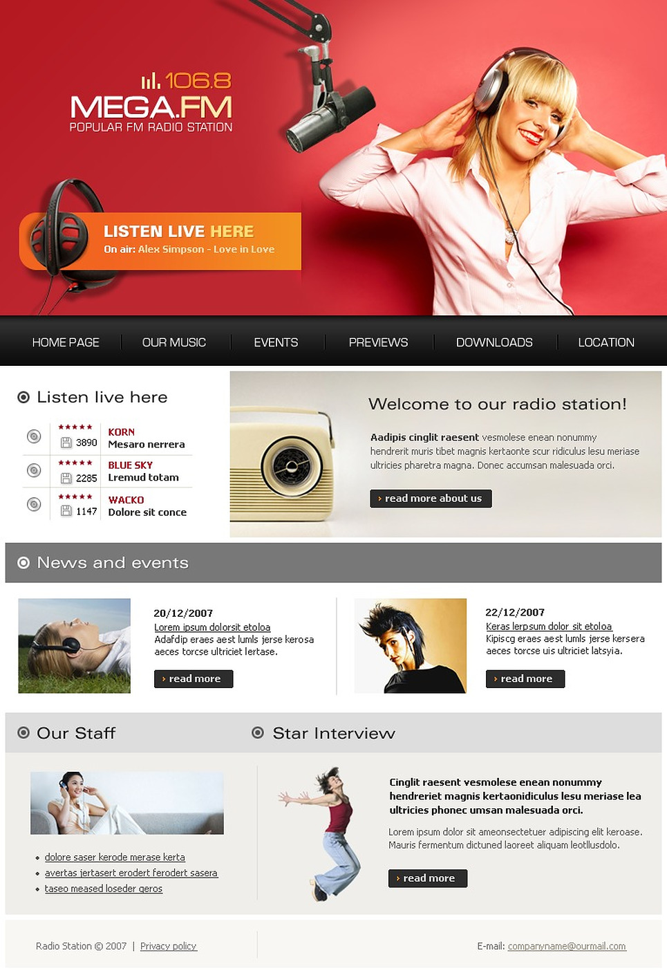 Radio template's screenshot