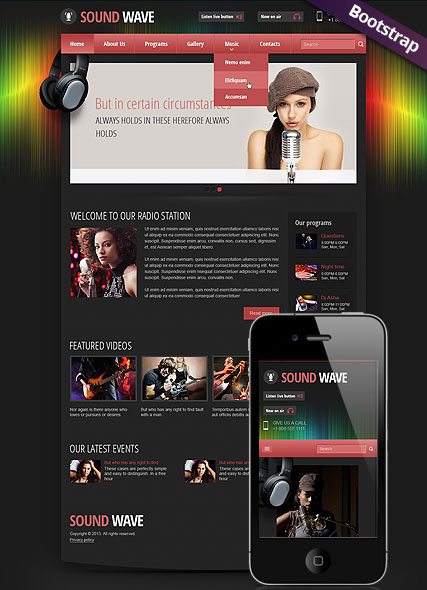 Sound wave bootstrap template's image