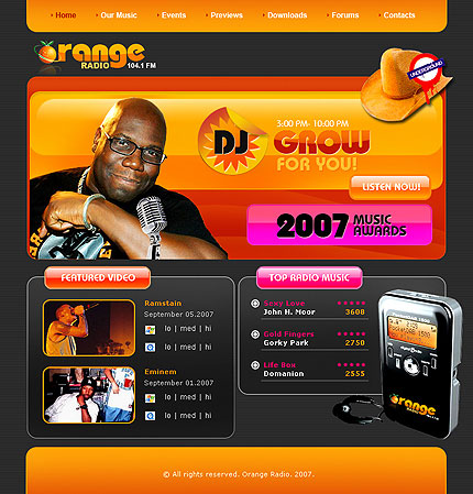 The screenshot of Radio Station orange theme