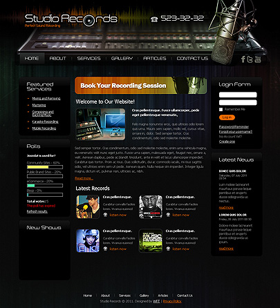 the image of Studio Records template's main page