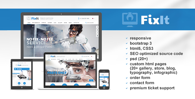 Fixit Computer repair website template's screenshot