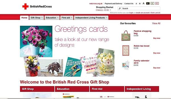 The screenshot of the British Red Cross Gift Shop's web site