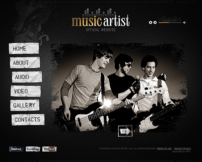 The main page of Music Artist web theme