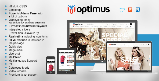 Optimus Opencart Website theme's image