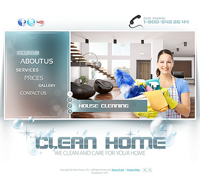 Clean home website template main page