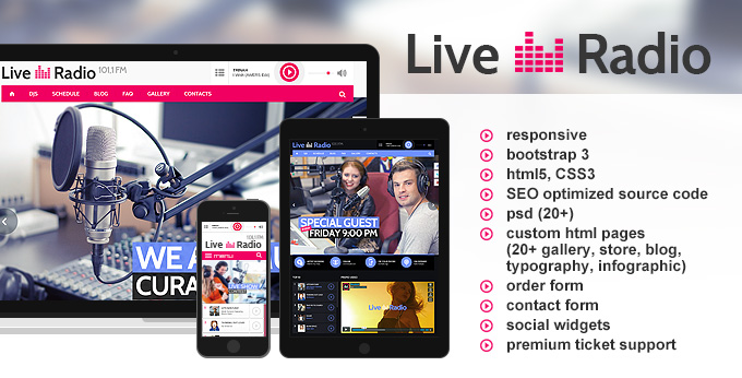 Live Radio website template's image