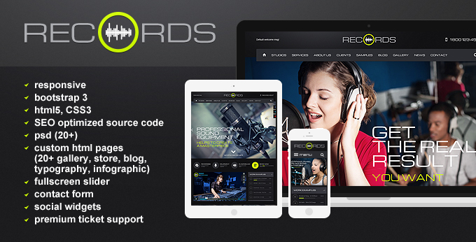 Records Html5 template's image