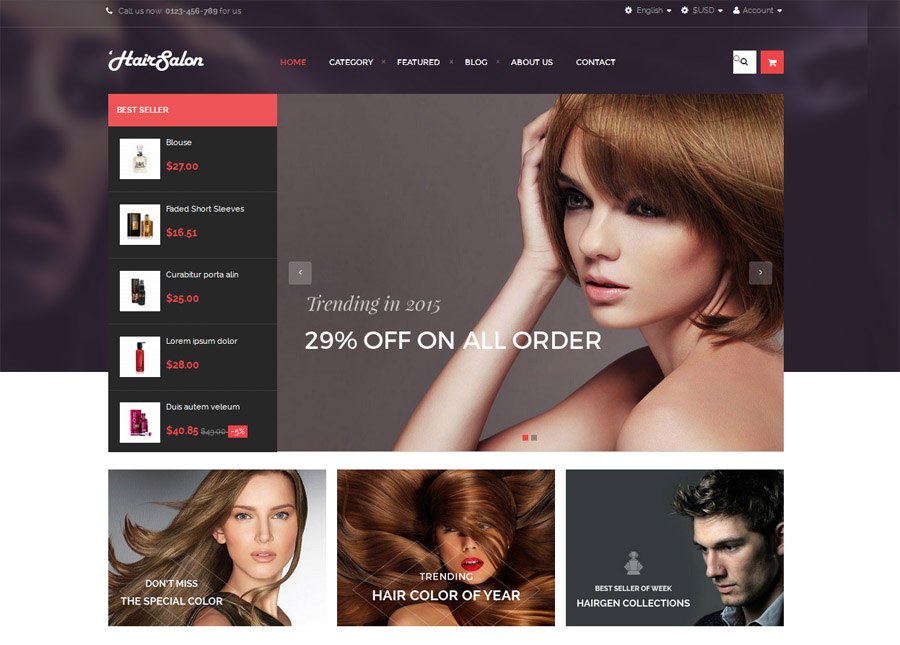 Hair Salon PrestaShop Website Theme