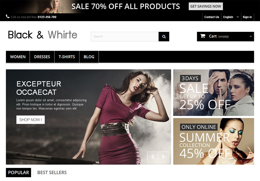 The picture of Black and Whirte PrestaShop Theme's Home Page