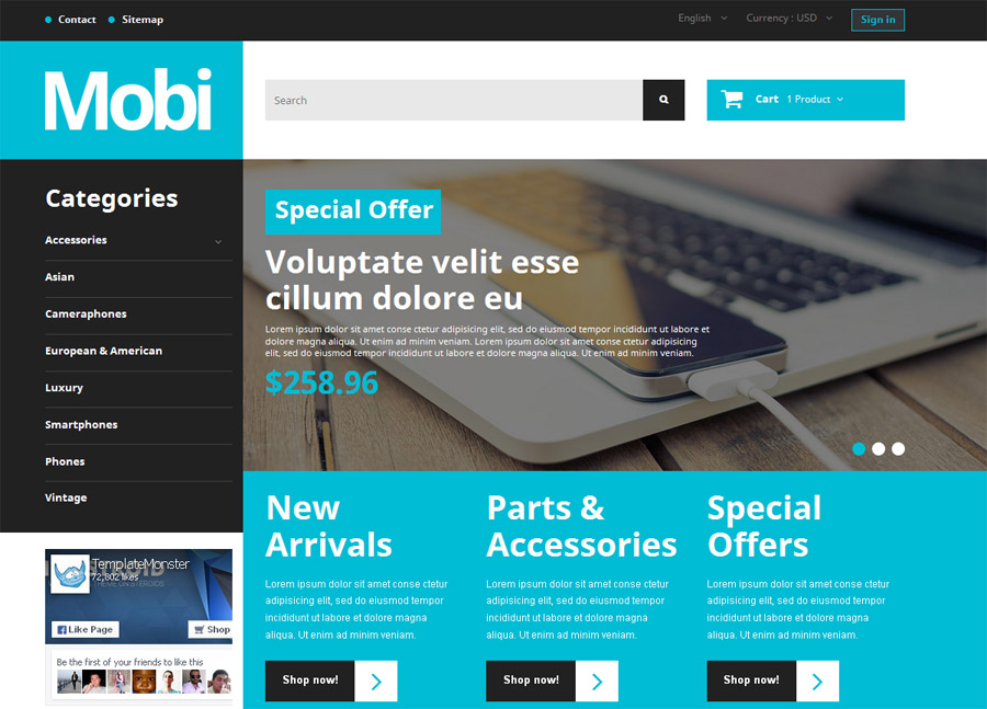 Mobi PrestaShop Website Theme