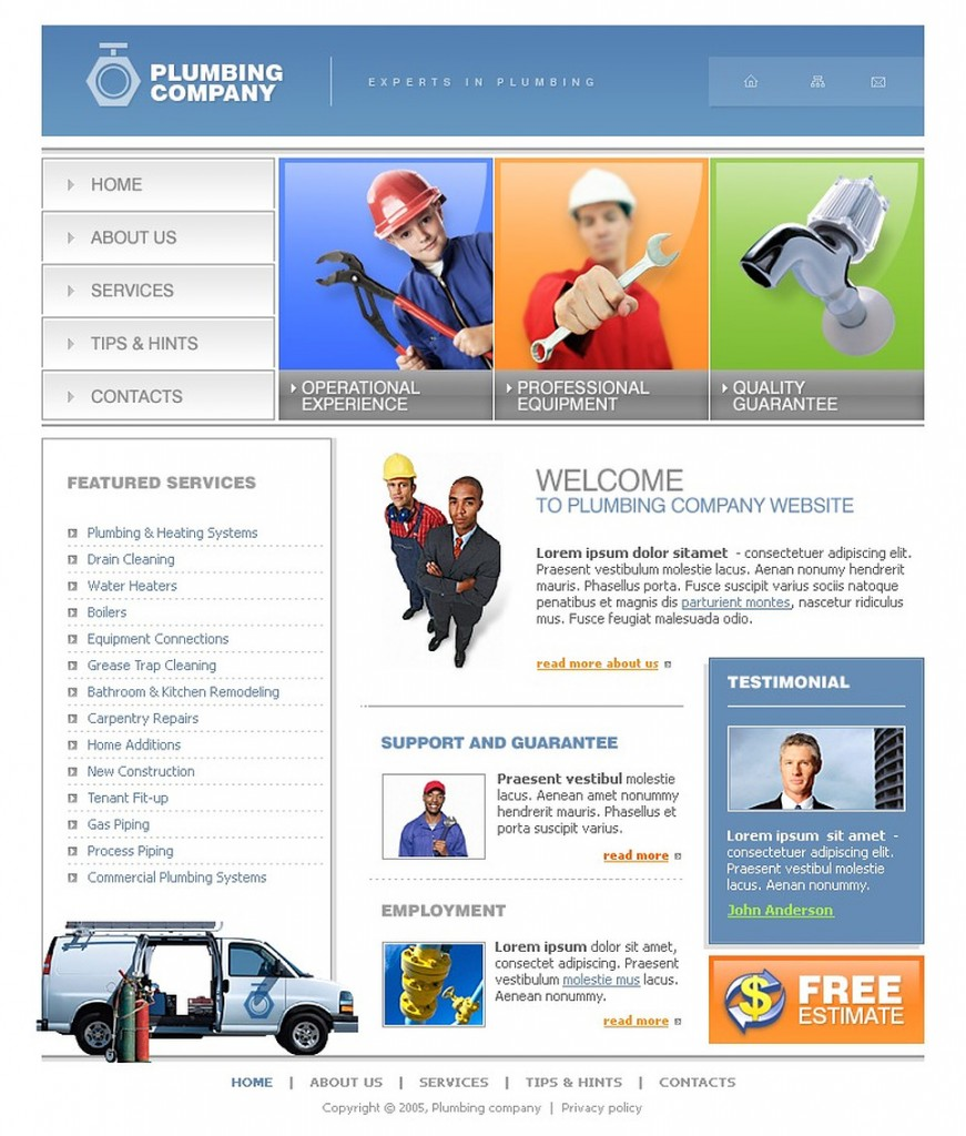 Plumbing website template image