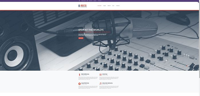 RECO Recording Studio Bootstrap template