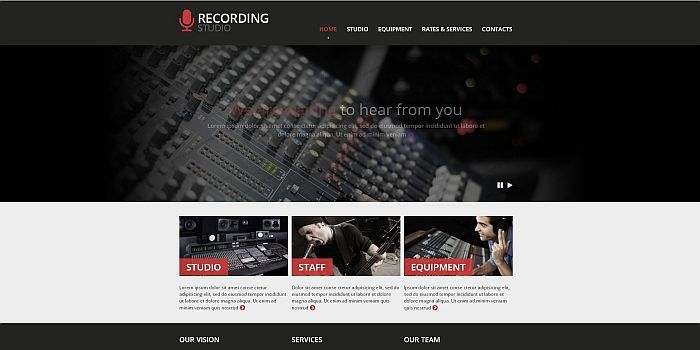 Sound Recording Studio Website Templates Tonytemplates - Photo studio website template