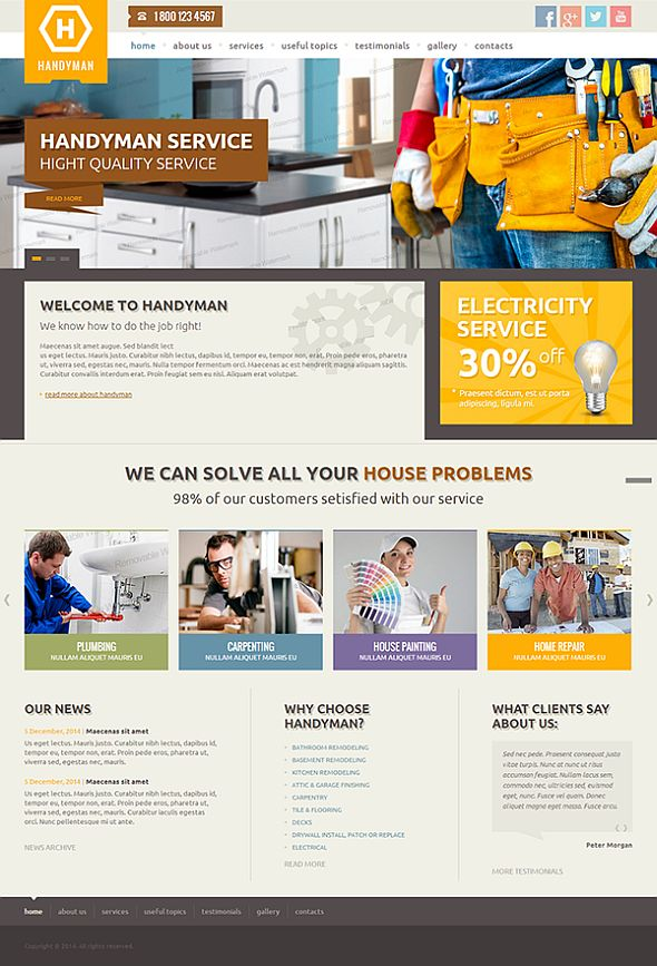 comparison of 10 handy man services website templates