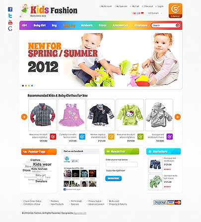 Fashion Design For Kids Website Template Free Tonytemplates