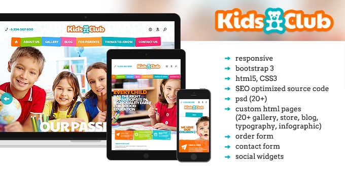 The main page of Kids Club website template