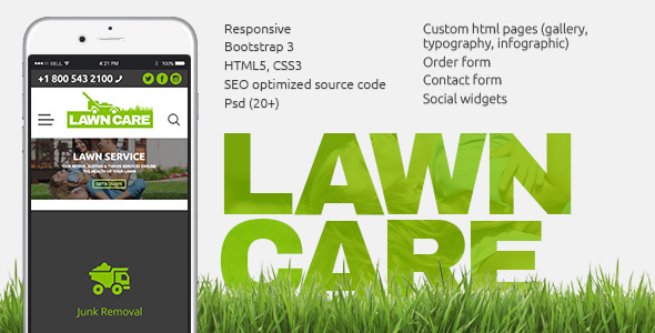 Lawn Care Service website template image