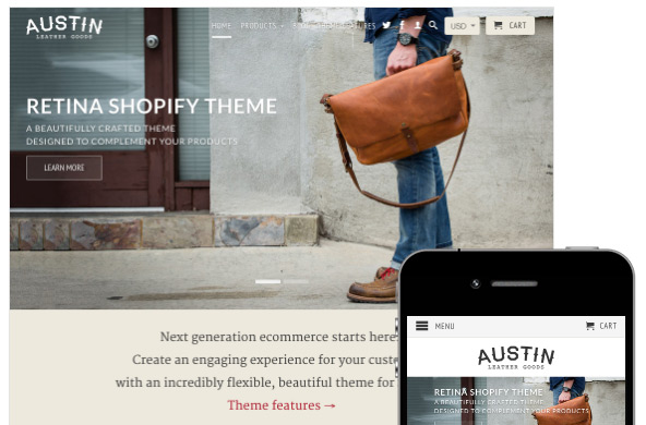 Retina Shopify website theme image