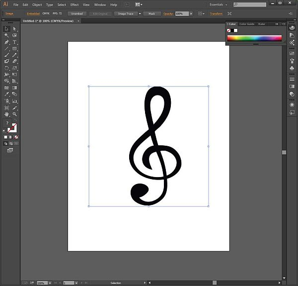 The image of a treble clef