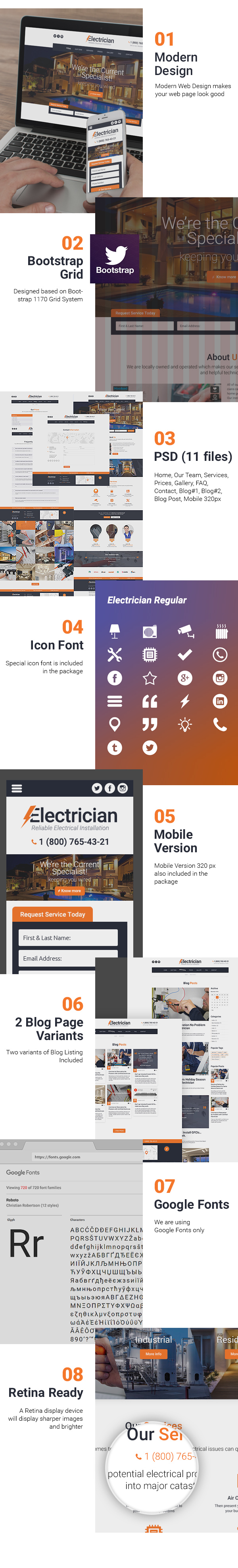Presentation for Electrician free psd template