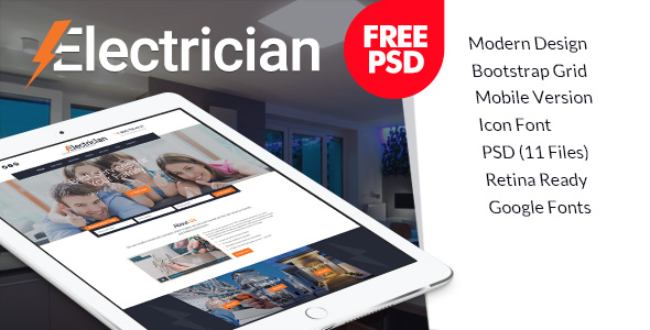Free psd template for Electrician Services