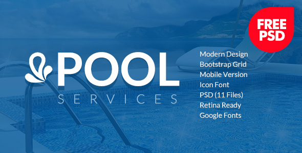 Preview for Pool Services Free PSD template