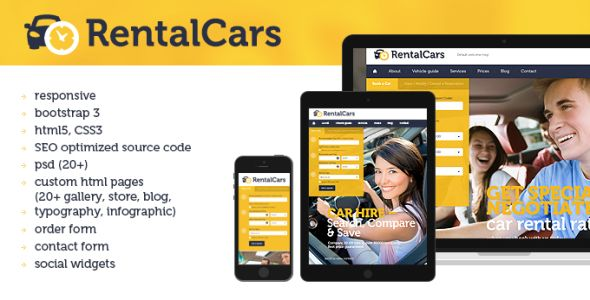 Rental Cars html5 website template