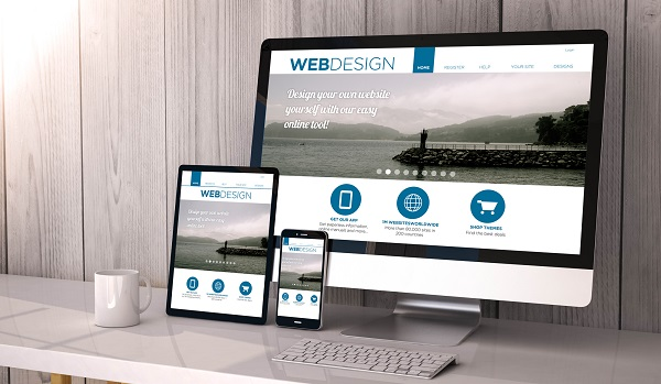 Digital generated devices on desktop, responsive blank mock-up with web design fluid template website on screen.