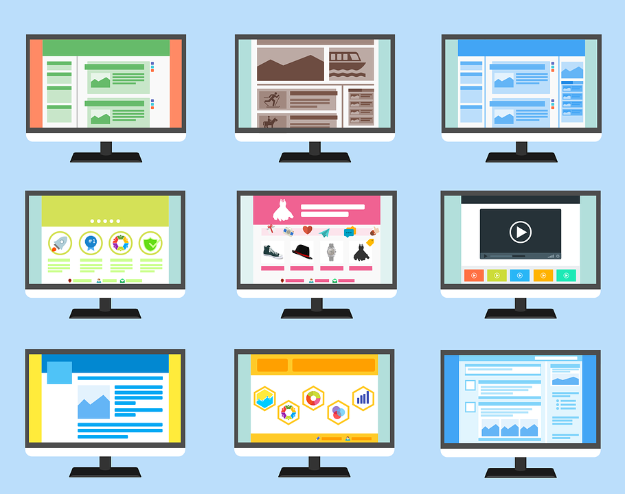 Website templates on different screens